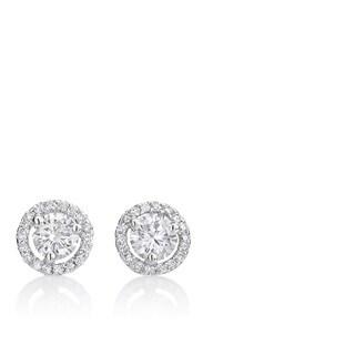 Andrew Charles 14k White Gold 1 1/10ct TDW Diamond Halo Earrings
