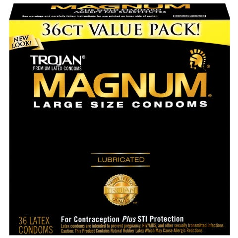 Trojan Magnum Latex Lubricated Condoms (Pack of 36)