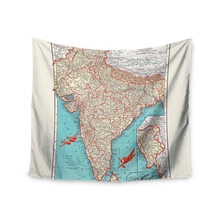 KESS InHouse Catherine Holcombe 'Travel To India' Teal Red 51x60-inch Tapestry
