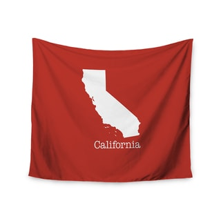 KESS InHouse Bruce Stanfield 'California State On Golden Red' Red White 51x60-inch Tapestry