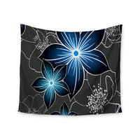"""Kess InHouse Alison Coxon """"Charcoal And Cobalt"""" Gray Blue Wall Tapestry 51'' x 60''"""
