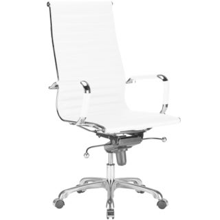 Edgemod White Chrome/Steel/Faux Leather Ribbed High Back Vegan Chair