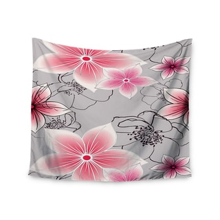 KESS InHouse Alison Coxon 'Grey And Pink Floral' Grey Pink 51x60-inch Tapestry
