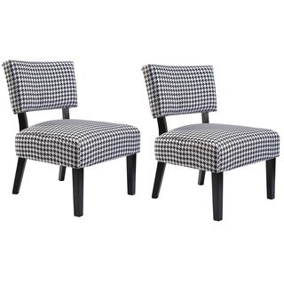 Charlotte Fabric Accent Chair with Solid Wood Legs (Set of 2)
