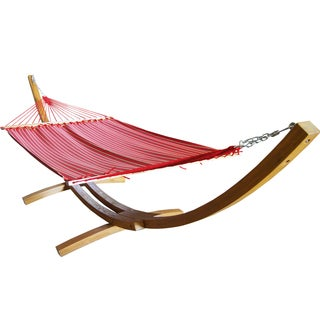Prime Garden Striped Sunbrella Fabric Hammock with Wood Arc Hammock Stand