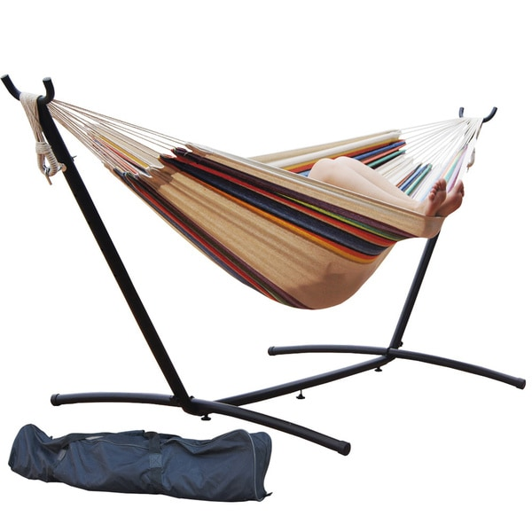 prime garden 9 foot double hammock and steel hammock stand prime garden 9 foot double hammock and steel hammock stand   free      rh   overstock