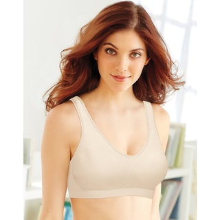 Bali Comfort Women's Revolution Light Beige Nylon Comfort Flex Fit Shaping Wirefree Bra