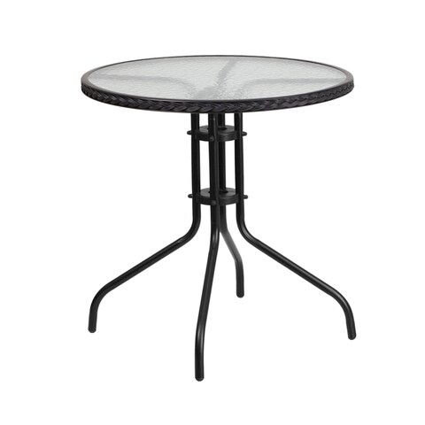 Offex Round Rattan, Tempered Glass, and Metal Table