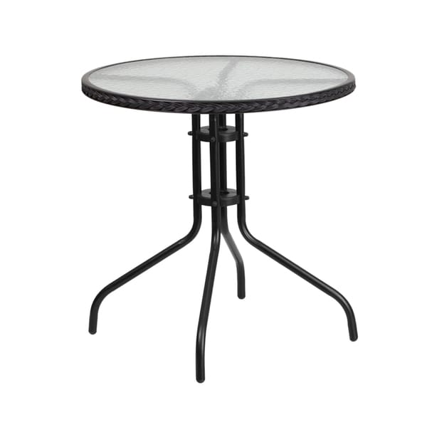 Offex Round Rattan, Tempered Glass, And Metal Table by Offex