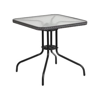 Offex Square Tempered Glass and Metal Table