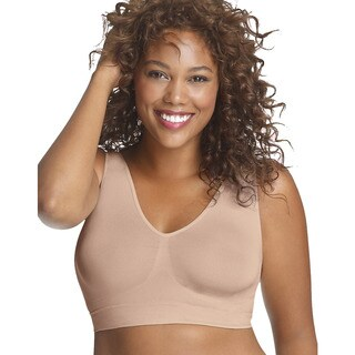 Just My Size Women's Nude Nylon/Spandex Pure Comfort Seamless Wirefree Bra with Moisture Control