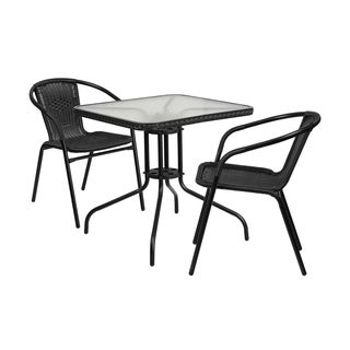 Offex Square Glass and Metal Patio Table with 2 Stacking Chairs