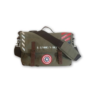 Marvel Captain America Green Canvas/Polyester/Synthetic Leather Vintage Military Messenger Bag