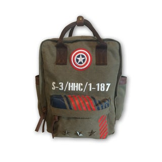 Captain America Vintage Military Canvas Double Handle Backpack