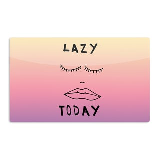 KESS InHouse Vasare Nar 'Lazy Today Tropical' Yellow Pink Artistic Aluminum Magnet