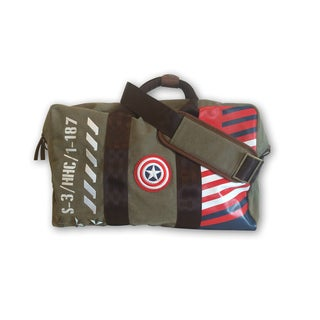 Marvel Captain America Green Canvas/Faux Leather Vintage Military Duffel Bag