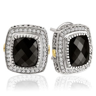 Avanti Sterling Silver and 18k Yellow Gold 1/3 TDW Black Onyx and Diamond Earrings (I-J, I1-I2)