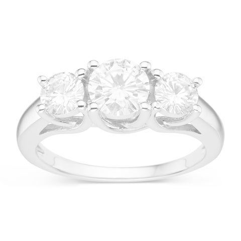 Charles & Colvard Sterling Silver 1 1/2ct TGW Forever Classic Moissanite 3-stone Ring