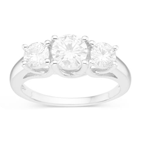 Sterling Silver 1 1/2ct TGW Forever Classic Moissanite 3-stone Ring