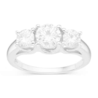 Charles & Colvard Sterling Silver 1 1/2ct TGW Forever Classic Moissanite 3-stone Ring|https://ak1.ostkcdn.com/images/products/12148022/P19002698.jpg?impolicy=medium