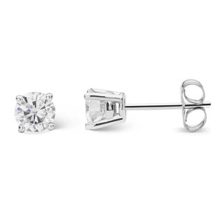 Charles & Colvard Sterling Silver 2/3ct TGW Forever Classic Moissanite Round Stud Earrings