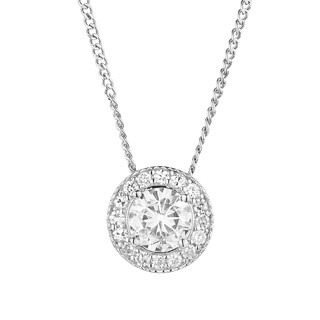 Charles & Colvard Sterling Silver 1-carat TGW Moissanite Forever Classic Halo Pendant