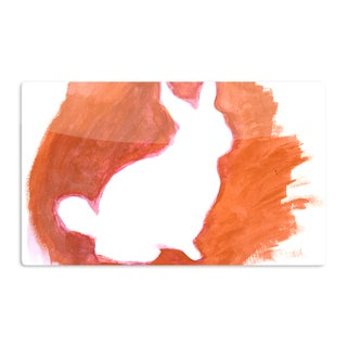 KESS InHouse Theresa Giolzetti 'Orange You A Bunny' Abstract Paint Artistic Aluminum Magnet