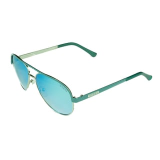 Guess Women's Blue Metal, Plastic Aviator Sunglasses