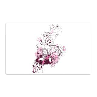 KESS InHouse Tobe Fonseca 'Violinist' White Pink Artistic Aluminum Magnet