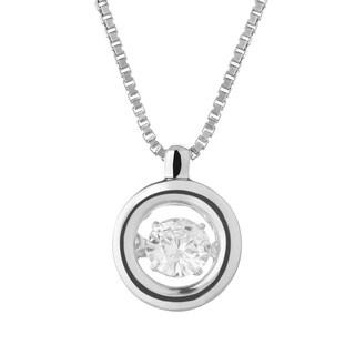 Charles & Colvard Sterling Silver 1/4ct DEW Forever Classic Moissanite in Motion Drop Pendant