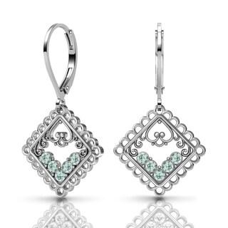 Lucia Costin Sterling Silver Light-Azore Swarovski Crystal Earrings