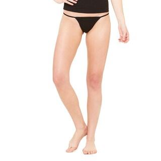 Women's Black Cotton/Spandex Thong Bikini