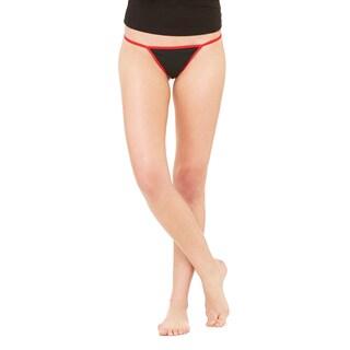 Women's Black/Red Cotton/Spandex Thong Bikini