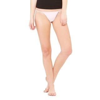 Women's Pink Cotton/Spandex Thong Bikini