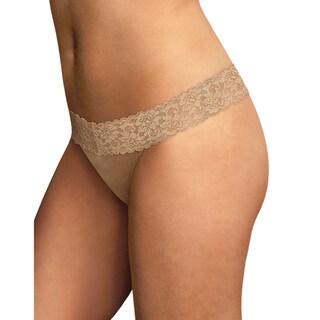 Maidenform Women's Dream Collection Beige Cotton, Nylon, Spandex Thong