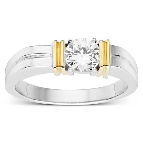 Charles & Colvard Men's Sterling Silver Two-tone 8/10ct TGW Forever Classic Moissanite Ring