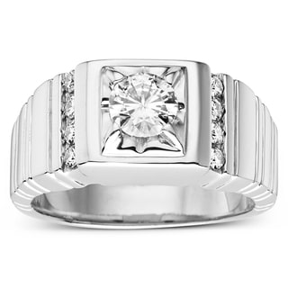 Charles & Colvard Sterling Silver 1 1/10ct TGW Forever Classic Moissanite Men's Ring