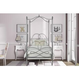 Avenue Greene Fancy Silver Metal Canopy Twin Bed