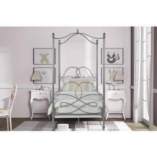 DHP Fancy Silver Metal Canopy Twin Bed. Vintage Kids    Toddler Beds For Less   Overstock com