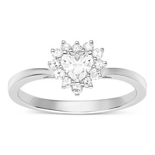 Charles & Colvard Sterling Silver 0.52ct TGW Heart-shaped Forever Classic Moissanite Halo Ring