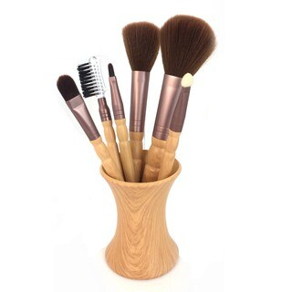 6-piece Makeup Brush Set with Pouch and Stand Holder
