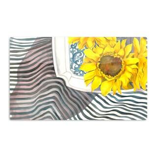KESS InHouse S. Seema Z 'Finall Sunflower' Yellow Flower Artistic Aluminum Magnet