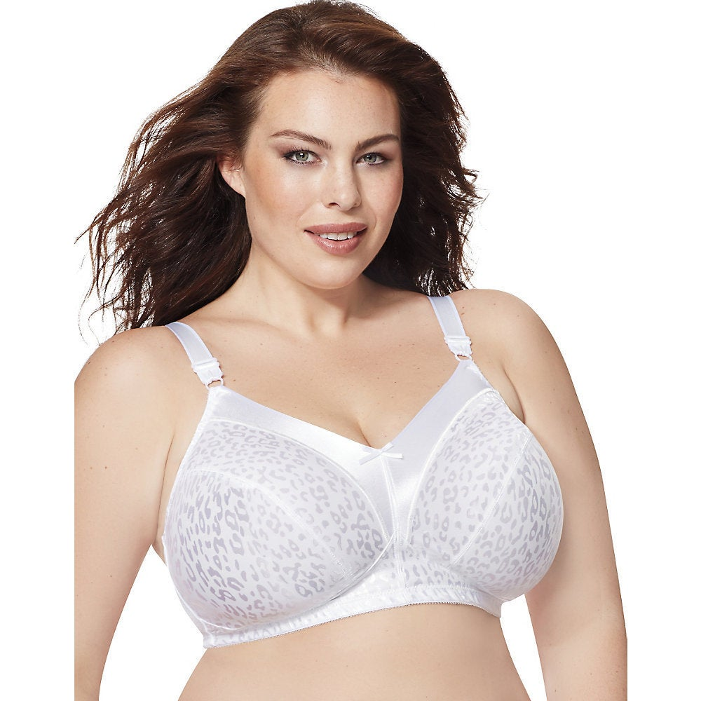 Just My Size Womens White Nylon/Spandex Satin Stretch Wirefree Bra
