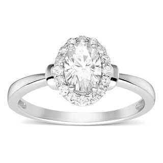 charles colvard sterling silver 1ct tgw forever classic moissanite oval halo ring - Wedding Rings Vintage