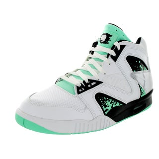 Nike Men's Air Tech Challenge Hybird QS White/Green Glow/Wolf Grey/Ice Leather Tennis Shoes