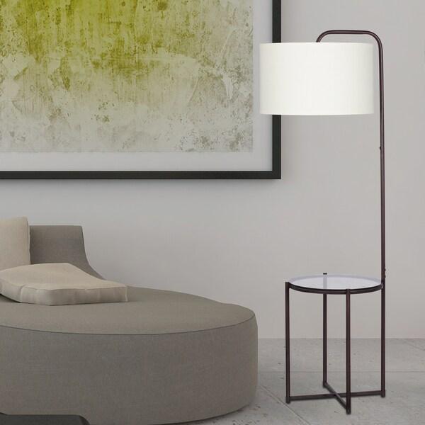 66.5-inch Tempered Smoke Glass With Dark Bronze Metal Floor Lamp