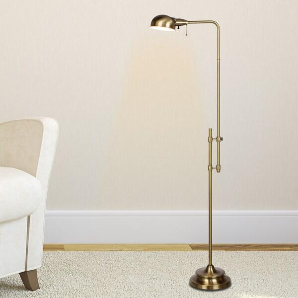 45.25 - 62.25-inch Adjustable Metal Floor Lamp In Antique Brass