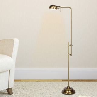 45.25 - 62.25-inch Adjustable Metal Floor Lamp In Antique Brass