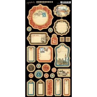 Cityscape Chipboard Die-Cuts 6 x 12-inch Sheet Journaling