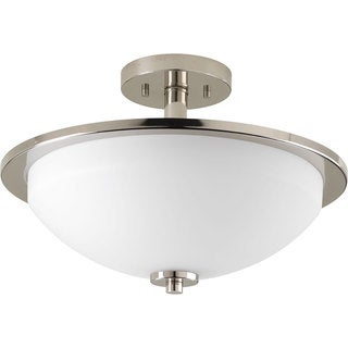 Progress Lighting P3424-104 Replay Nickel Steel/Porcelain 2-light Semi-flush Light Fixture